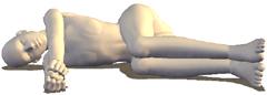 ヨガ 横向きで寝る猫のポーズ